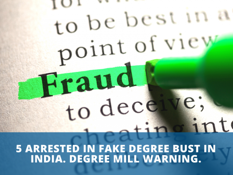 5 arrested in fake degree bust in india. Degree mill warning.